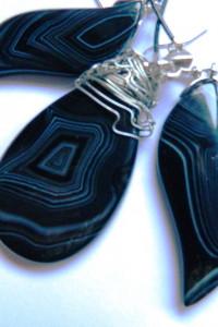 Czarny sardonyks pasiasty elegancki zestaw biżuterii...