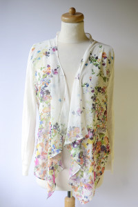 Sweter Narzutka Kwiaty M 38 Yumidirect Nowy Biały Kwiatki...