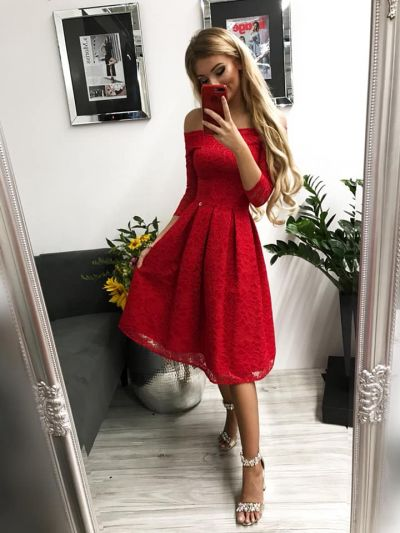 Suknie i sukienki Czerwona sukienka midi rozmiar S