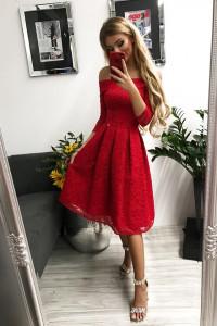 Czerwona sukienka midi rozmiar S