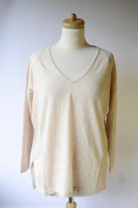 Sweter Beżowy NOWY S 36 Oversize Wełna Dekolt V