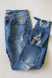 spodnie jeansowe rurki z przetarciami s