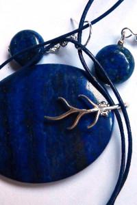 Lapis lazuli z pirytem wisior i kolczyki zestaw biżuterii
