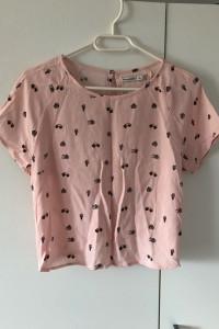 Różowa bluzka koszulka z krótkim rękawem Bershka M wiązana...