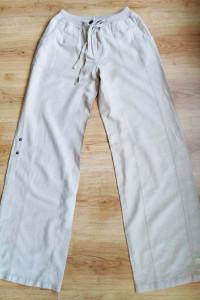 Beżowe miodowe spodnie szerokie len lniane Mexx 38 M...