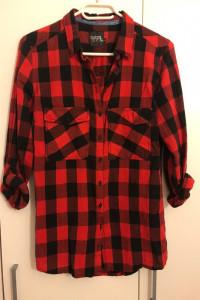 Koszula w kratę Reserved 34 czarno czerwona z długim zapinanym ...