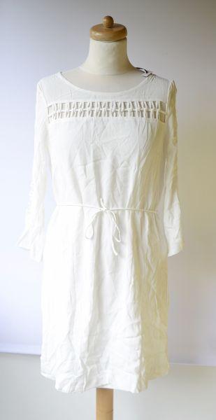 Suknie i sukienki Sukienka Biała NOWA Morgan Ażurowe Elementy Elegancka L 40