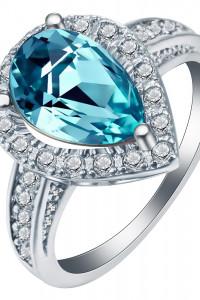Nowy pierścionek srebrny kolor jasnoniebieska cyrkonia niebiesk...