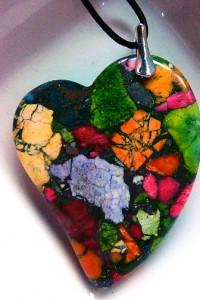 Kolorowe serce jaspis centkowany i srebro wisiorek