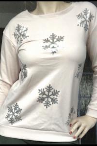 Bluza SOUTH pudrowy róż śnieżynki S cekiny...