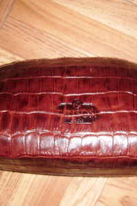 Kosmetyczka skórzana brązowy wąż