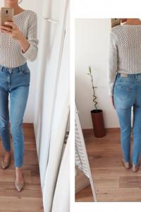 Promod Ernest Push Up jeansy skinny rurki slim wysoki stan nieb...