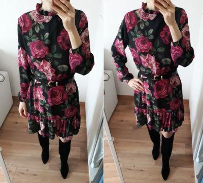 Suknie i sukienki NOWA metka sukienka Made In Italy czarna kwiaty floral jesień 36
