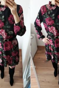 NOWA metka sukienka Made In Italy czarna kwiaty floral jesień 36