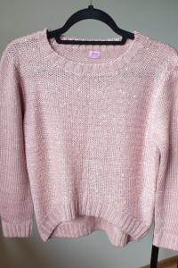 Sweter brudny róż F&F połyskujący dłuższy tył rozmiar XS S...