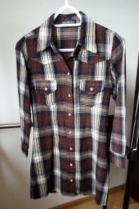 Długa koszula w kratkę flanelowa rozmiar XS