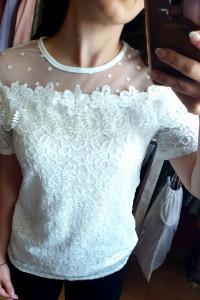 Elegancka bluzka z haftem koronka rozmiar XS S