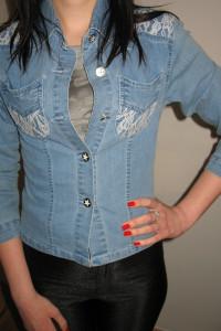 Jeansowa koszula z koronką XS 34...