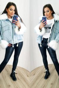 Katana z futerkiem kurtka jeans