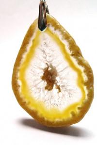 Surowy plaster żółty agat z kryształem wisiorek