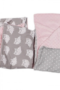 ochraniacze do łóżeczka różowo szare...