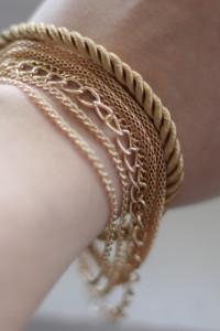 Bransoletka warstwowa złoty sznurek...
