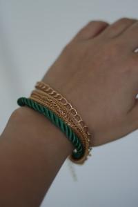 Bransoletka warstwowa zielony sznurek...