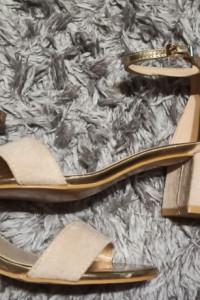 Sandałki złoto beżowe na obcasie 37 38