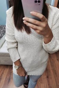 Sweter złota nitka S M