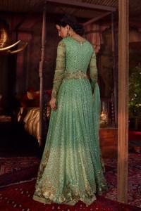 Nowa suknia balowa XS 34 zielona cekiny haft szyfon chusta szal...