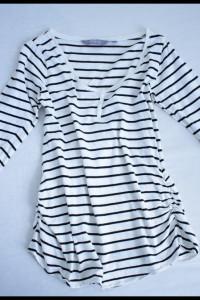Bluzka ciążowa Maternity rozmiar 38 w paski z marszczeniami