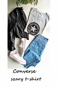 Szary t shirt koszulka converse L XL bawełna