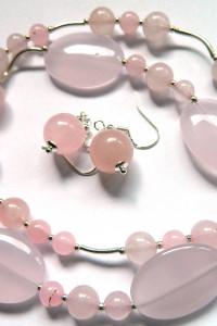 Kamień miłości kwarc różowy delikatna biżuteria zestaw...