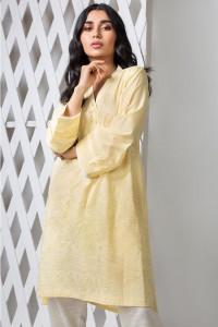 Nowa indyjska tunika S 36 M 38 żółta bawełna Bollywood kameez b...