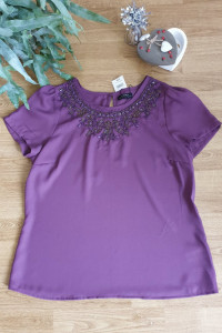 Fioletowa bluzka z ozdobnymi koralikami 44...