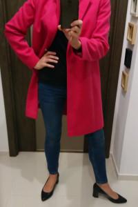 Długi zimowy płaszcz kurtka oversize wełna elegancki r 36 nowy...