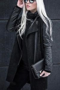 Czarna modna kurtka z kapturem rękawy skóra asymetria...