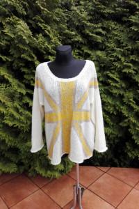 Lekki ciepły sweter modny wzór oversize duży rozmiar XXXL uniwe...