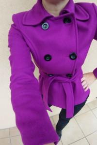 Zara kurtka jesienna zimowa dwurzędowa wełniana wełna r XS vintage ramoneska