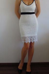 SINSAY koronkowa sukienka z gipiurą r XS biała wesele ślub nowa boho