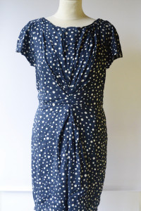 Sukienka Granatowa NOWA Groszki Kropki XL 42 Yumi Direct...