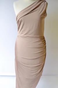Sukienka Nowa XL 42 Lipsy Brudny Róż Jedno Ramię Marszczona