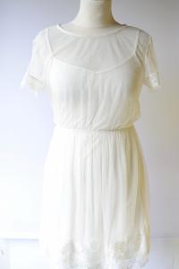 Sukienka Koronkowa H&M Kremowa S 36 Siateczka Koronka...