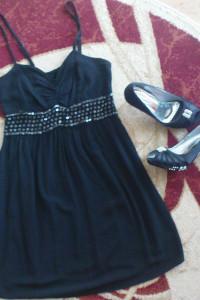 czarna zwiewna sukienka s m...