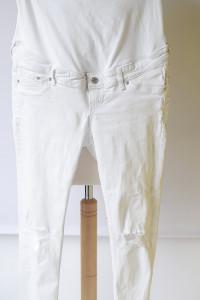 Spodnie Białe Dziury H&M Mama L 40 Skinny Ankle Rurki...