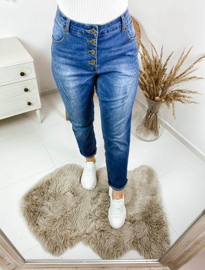 Spodnie Jeansy rzędowe guziki