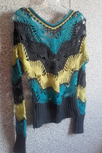 Sweter 36 ażurowy szary turkus