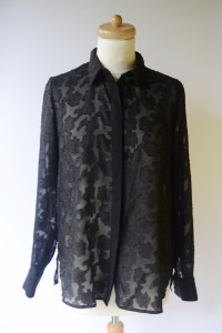 Koszula Czarna H&M M 38 Mgiełka Tłoczony Wzór Oversize...