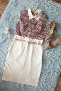 Ołówkowa sukienka w kratkę dopasowana sukienka sukienkadopracy