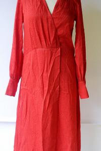Sukienka Czerwona H&M S 36 Wzór Skóry Węża Kopertowa Long